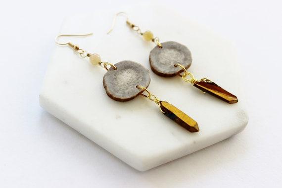 Antler, Opal & Quartz Earrings