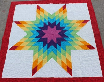 New Rainbow Native American Star Quilt ( 55.5 in x 55 in - Baby) - FREE SHIPPING