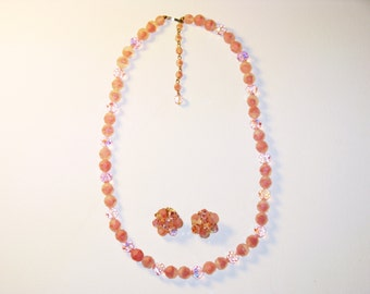 Vintage Pink Givre Glass and Crystal Necklace and Clip Earrings Demi Parure (N-1-6)