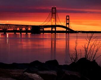 "Bridge Photo, Mackinaw Bridge, Dawn, Michigan, Architecture Photo, ""Sunrise at the Straits"", Fine Art Photography, Mackinaw City"