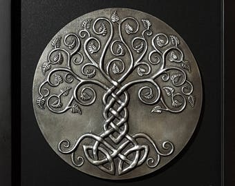 Yggdrasil: The World Tree. Cold-cast Relief Sculpture with NICKLE SILVER finish. Norse Viking Mythology Tree of life