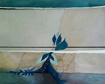 """SUMMER SALE Terra Cotta Series """" Along the Fissure"""" original one of a kind watercolor."""