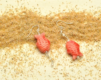Colorful Handpainted Peruvian Fish Dangle Earrings with Bubbles