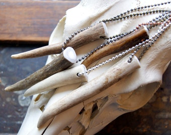 Deer Antler Pendant Necklace with ball chain