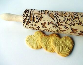 JOY pattern Embossing Rolling pin. Engraved rolling pin for embossed cookies. JOY