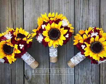 Burgundy Sunflower Bridesmaid Bouquet, Sunflower Bridesmaid Bouquet, Sunflower and Burgundy Bouquet