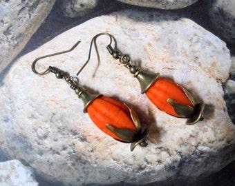 Orange Flower Bud Earrings (2369)