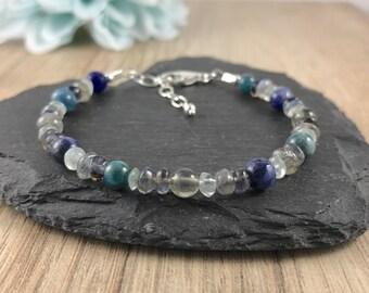 Inner Peace Bracelet, Sodalite, Labradorite, Apatite, Gemstone Bracelet, Sterling Silver, Blue, Green