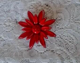 Vintage Brooch, Beautiful, Lipstick Red, Enamel, Flower Pin, Brooch in Mint Condition, Enamel Brooch