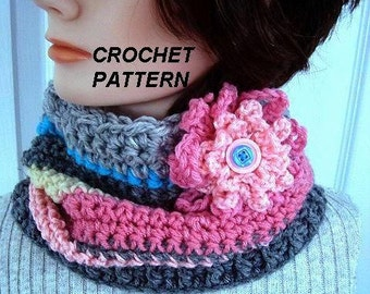 COWL scarf CROCHET PATTERN, Easy flower pattern included, women's accessories, #655