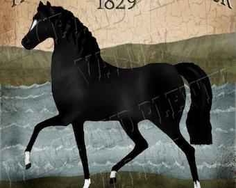 ConnemaraPersonalized Custom Farm Sign Black horse Irish Pub Sign Folk Art * Chose:Print, or Print Mounted to Wood or InstantDigitalDownload