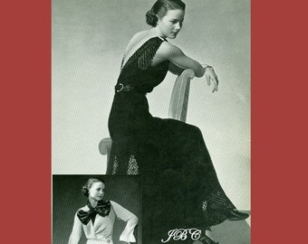 Stunning Knitted Evening Jacket and  Gown Knitting Pattern  -  Vintage Knitting, Crochet Finish 1930's eBook PDF .. 3300 Alora Dress