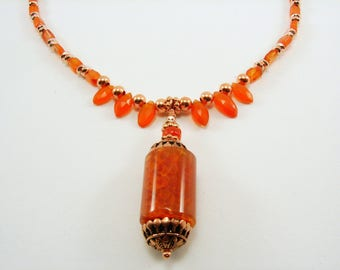 Carnelian and Copper Necklace with Pendant
