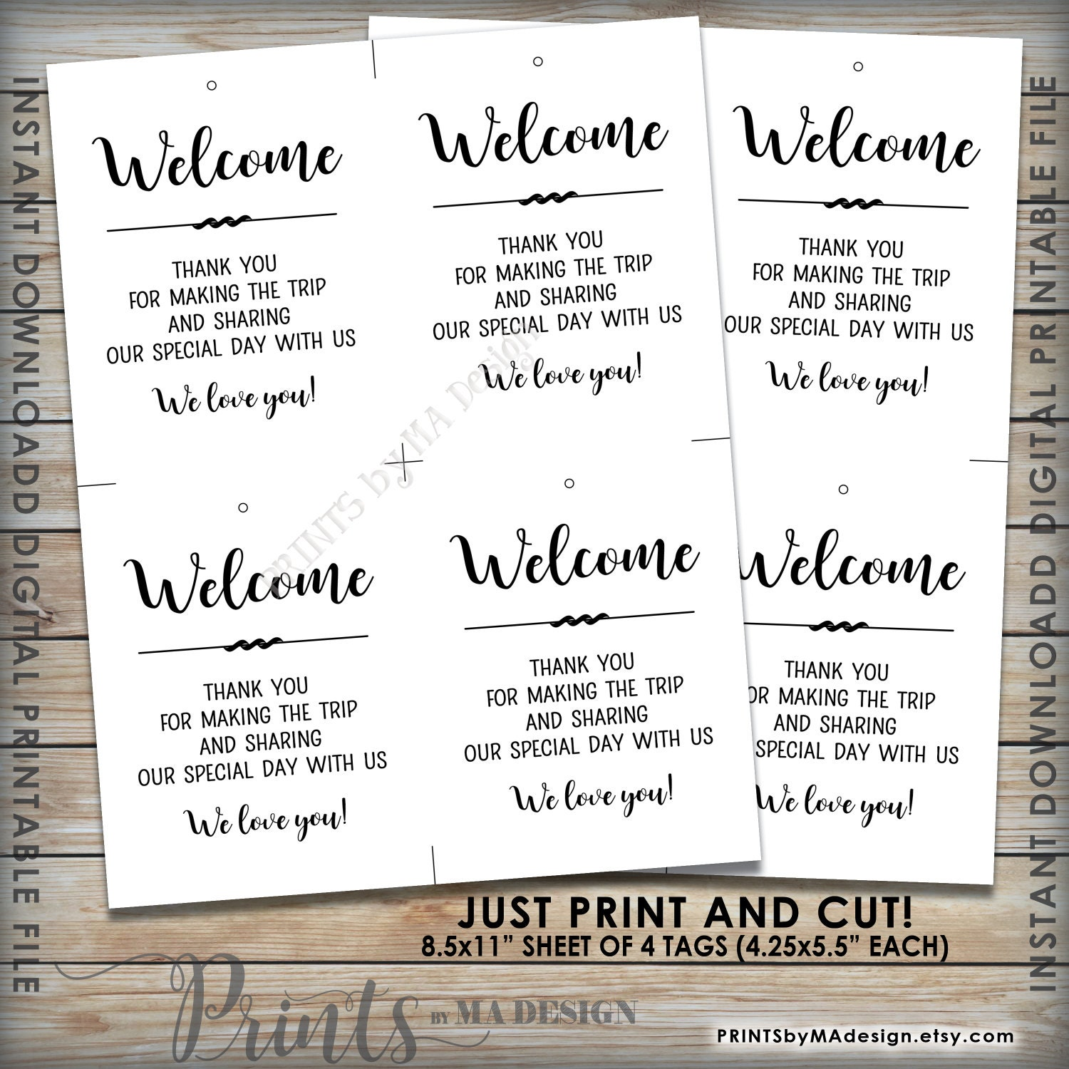 Gifts For Out Of Town Wedding Guests: Wedding Tags, Welcome Bag Tags, Hotel Gift, Out Of Town