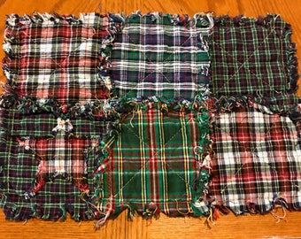 Tartan plaid table runner and placemat set with stars, homespun fabric, made to order