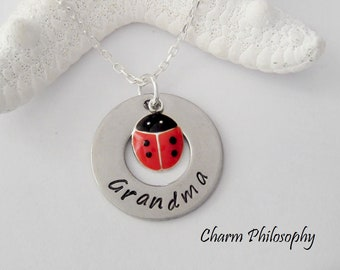 Grandma Ladybug Necklace - Lady Bug Jewelry - Silver Custom Name Gift - Personalized Hand Stamped Name Pendant