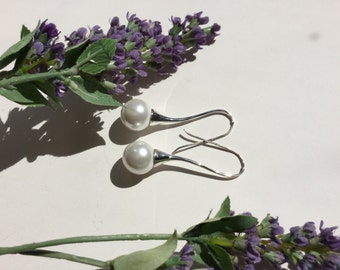 Faux pearl earring/drop peal earrings /pearl/dangle /drop/earrings /Sterling Silver/ wedding/silver/drop earrings /pearl drops/