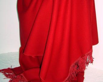 100% Wool crepe shawl/wrap w/ 3' fringe