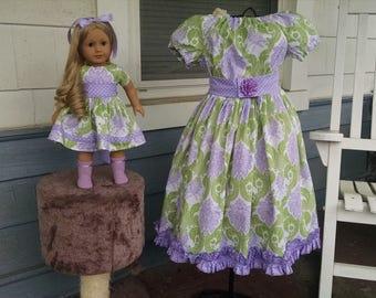"""Girls Eastere Dress, 18"""" doll dress, girls dress, girls clothing, girls spring dress, sizes  3T, 4T, 5, 6, 7, 8, 10,"""