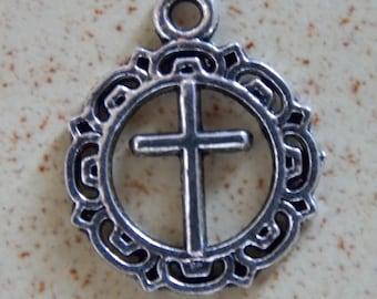 Beautiful cross encircled in silver