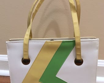 SALE -- 1960s Naturalizer Yellow, Green and White Synthetic Leather Handbag