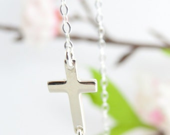 Silver Sideways Cross Necklace, Extra Tiny, Sterling Silver chain, Cross Necklace, Silver Necklace, Really Small Cross, Asymmetrical