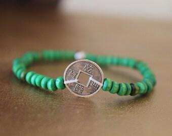 Good luck charm bracelet - Chinese coin silver - green wood beads - designer jewelry - women bracelet - Buddhist bracelet wood bracelet