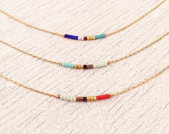 Minimalist Gold Delicate Short Necklace with Tiny Beads / Dainty Thin Beaded Chain Layering Necklace / Colorful & Simple Boho Necklace