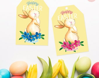 Custom name tags personalized easter tag personalized gift happy easter tags personalized easter tags printable easter tags bunny tags gift tags negle Image collections