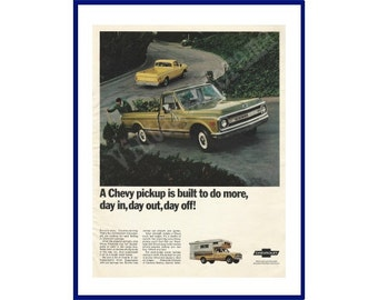 """CHEVROLET PICKUP TRUCK Original 1969 Vintage Extra Large Color Print Ad - """"A Chevy Pickup Is Built To Do More, Day In, Day Out, Day Off!"""""""