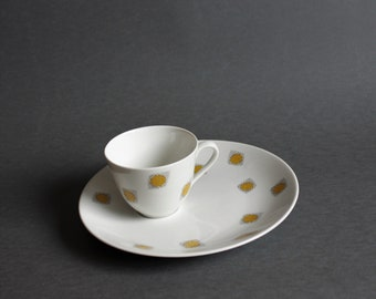 Rare Vintage Porcelain TV Cup with Saucer - Rörstrand - Serien KULOR - design by Marianne Westman - 1955's - Modern Design Home