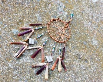 Sea Urchin dream catcher.  Chimes. Seaside chimes.  Handmade wire wrapped copper home decor.