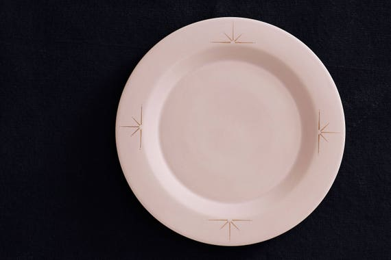 & Blush Pink Porcelain Dinner Plate with 22k Gold Celestial