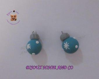2 charm balls Christmas Fimo