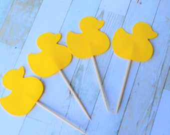 Yellow Duck Cupcake Toppers-Baby Shower Decoration-Duck Party Picks, Cupcake Toppers, Food Picks, Toothpicks