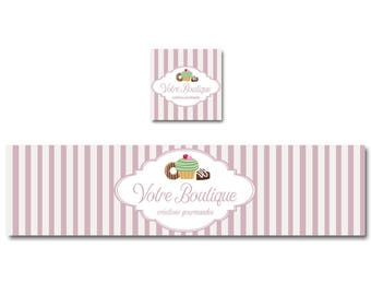 Banner gourmet cupcake donuts and chocolate, pink and white shop banner