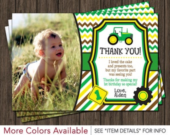 Tractor Thank You Card | Tractor Birthday Thank You Card