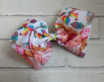 "Large 8"" inch JoJo Siwa Print Boutique Hair Bow with alligator clip like JoJo Siwa Bows Signature Keeper Dance Moms Party Gift Birthday"