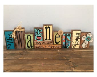 personalized made to match customizable name wood block set // established sign