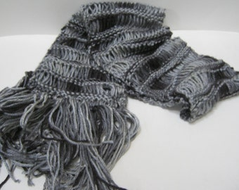 Knit Scarf Black Gray Winter Scarf Accessories Lightweight Black Scarf Hand Knit Sacrf For Her Gift Idea