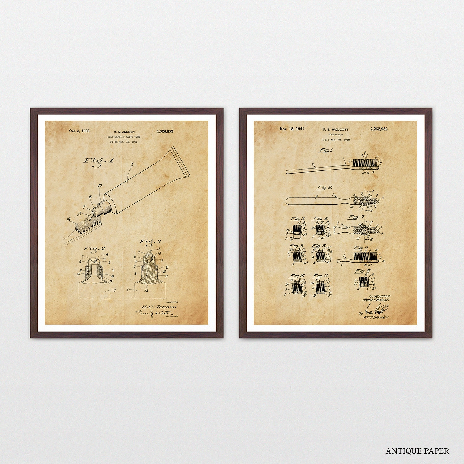 Bathroom Patent Art - Toothbrush - Toothpaste - Toothbrush Patent ...