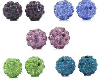 10 rhinestone ball 10mm beads