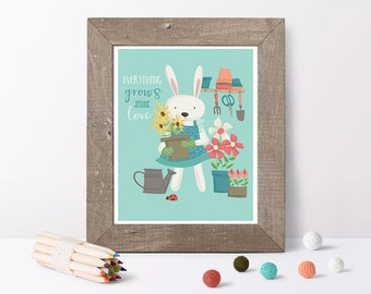 Bunny print // garden art // nursery art // kids art prints // bunny décor // nursery décor girl // baby gift for girls // flower art print
