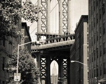 Manhattan Bridge Photograph - New York City Print - Landscape Print - Manhattan Bridge, Empire State Building between Arch - New York Art