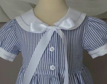 dress 12 months seersuker nautical blue and white