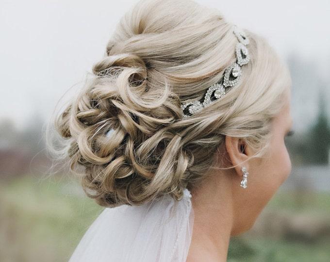 Silver Rhinestone Headband, Teardrop Bridal Headpiece, Wedding Headbands, Bridal Headbands, Boho Bridal Headpiece, Hair Accessories