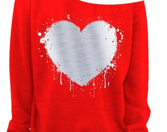 LADIES VALENTINE SWEATSHIRT - Heart - Foil - Slouchy Sweatshirt - Grunge - Splatter Heart - Off the shoulder - Silver Foil Imprint - s-3x