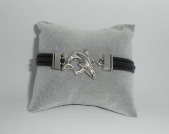 Black multi strand leather bracelet with silver metal shark