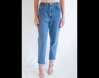 Vintage Lee Jeans Size 30   Vintage Mom Jeans   Vintage High Waisted Denim   Vintage Mid Wash Denim   Elastic Waist Jeans Size 30