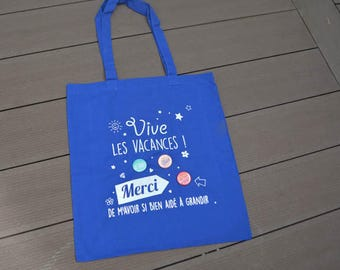Gift teacher bag, tote bag Blue Navy, 3 customizable badges